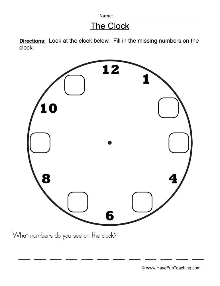 Printable Worksheets fill in missing numbers worksheets : The Clock Worksheet 1 - Fill In