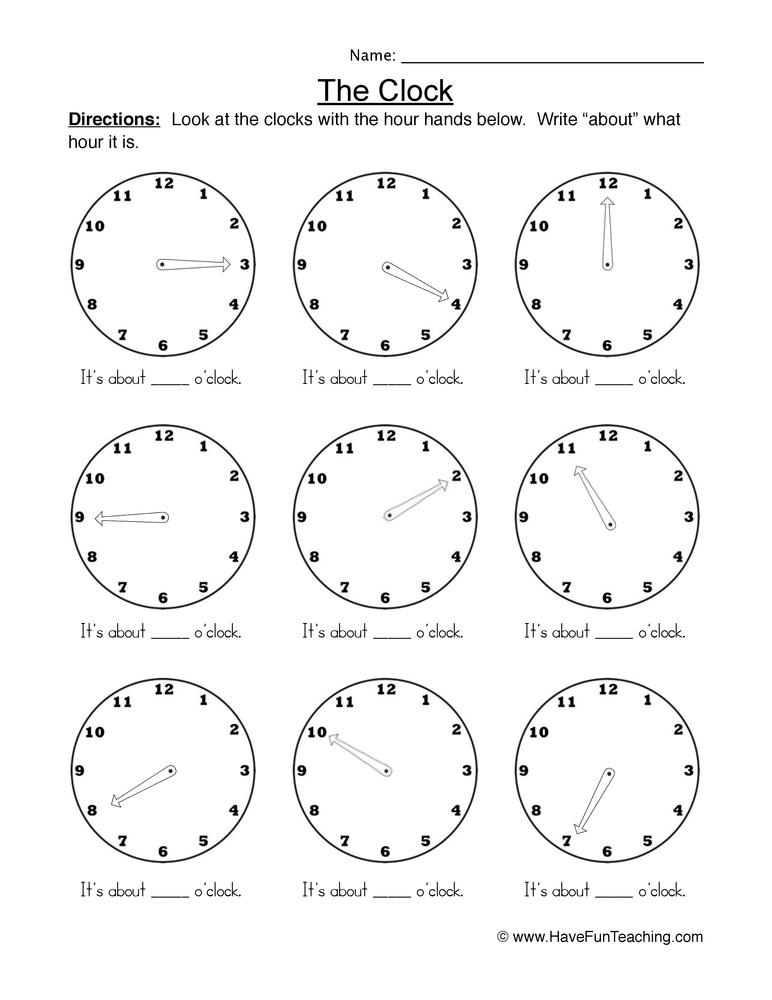 the clock worksheet 2