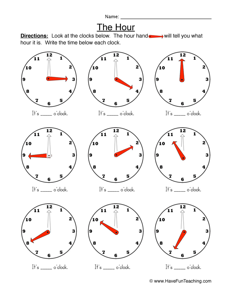 the hour worksheet 1