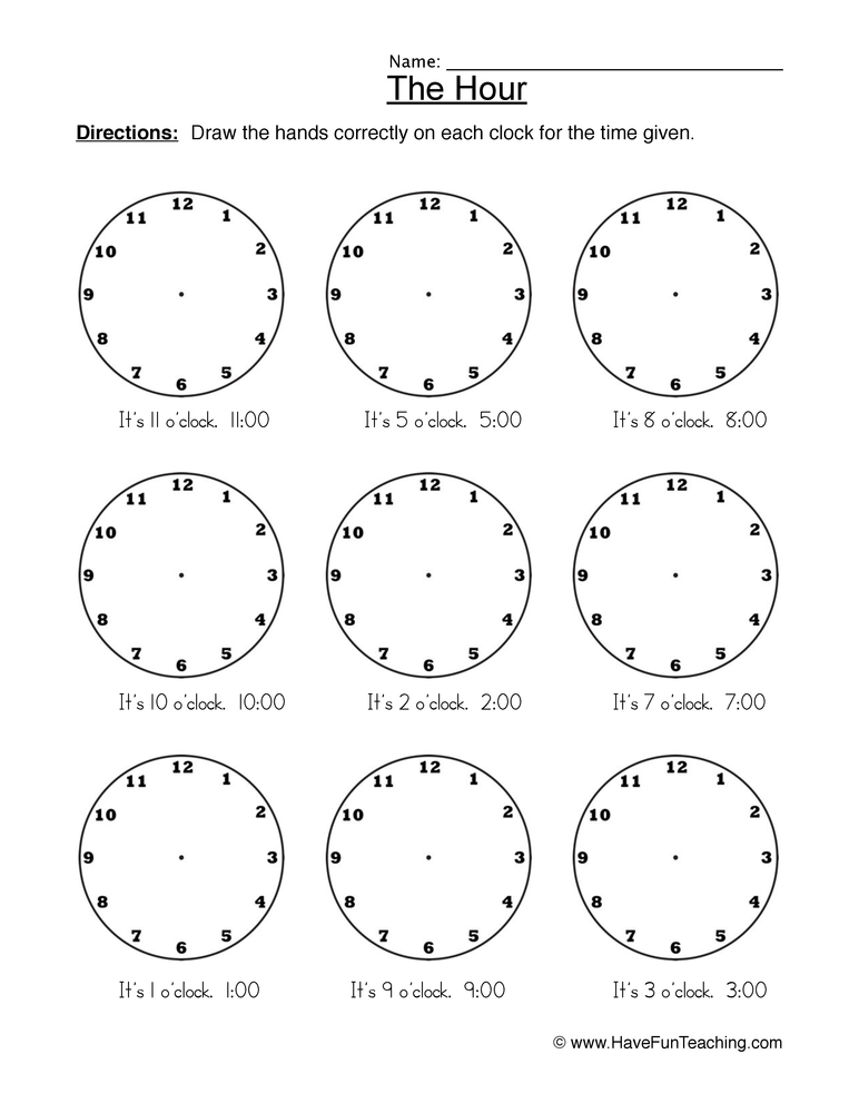 the hour worksheet 2