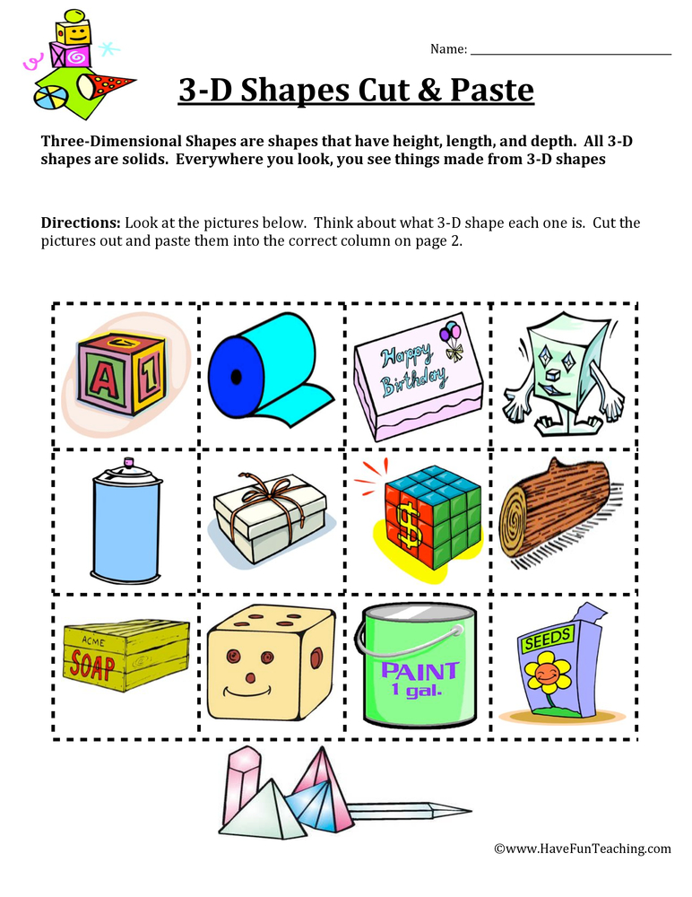 three dimension sorting worksheet 1