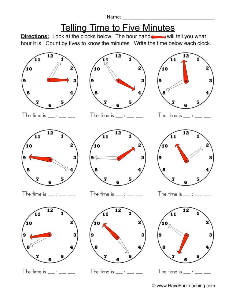 time five worksheet 2