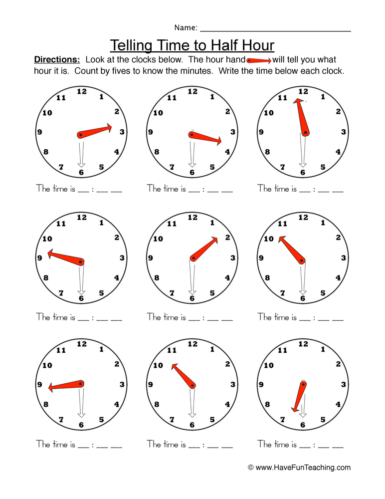 time half worksheet 1