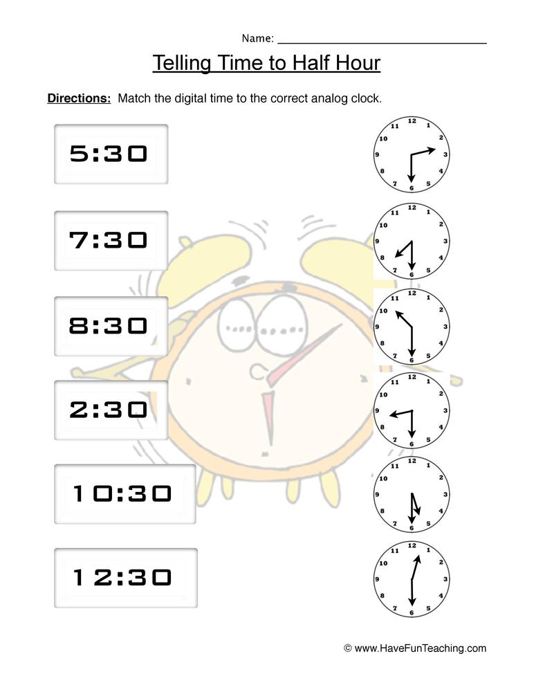time half worksheet 2