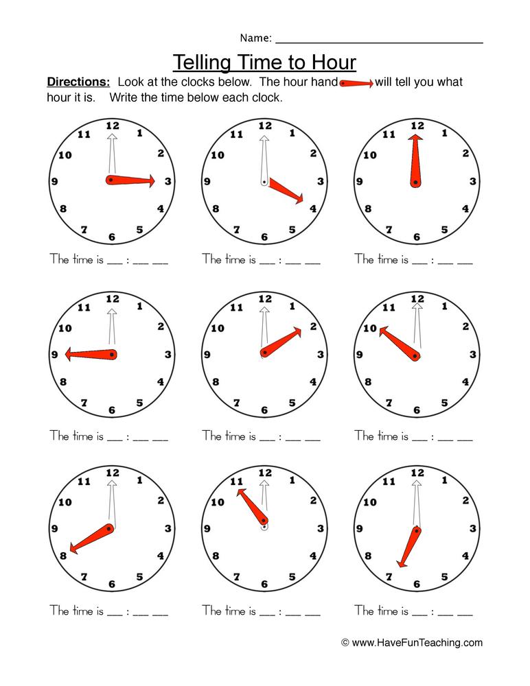 time hour worksheet 1