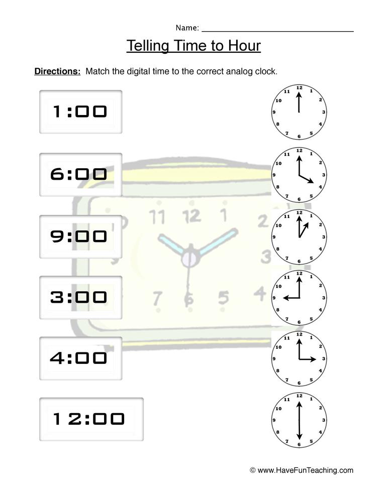 time hour worksheet 2