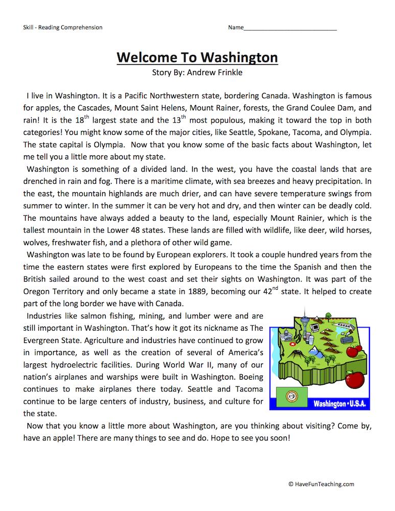 Welcome to Washington Reading Comprehension Worksheet ...