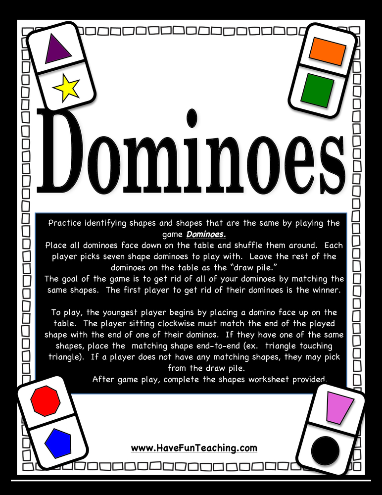 dominoes same different shapes activity