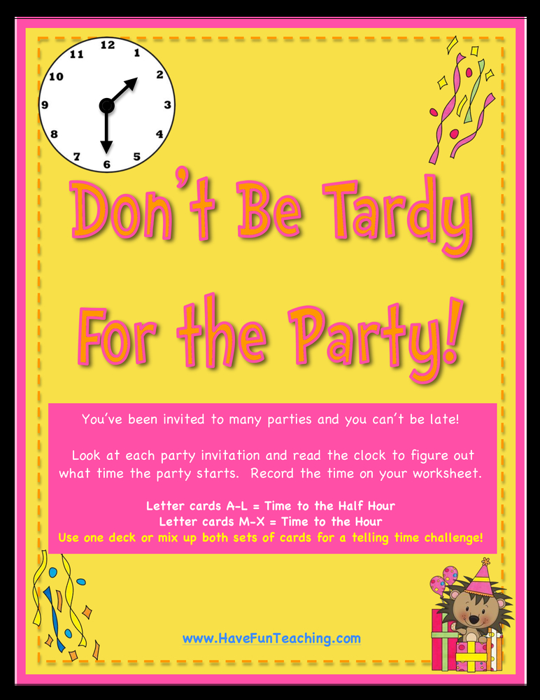 dont be tardy for the party telling time half hour activity
