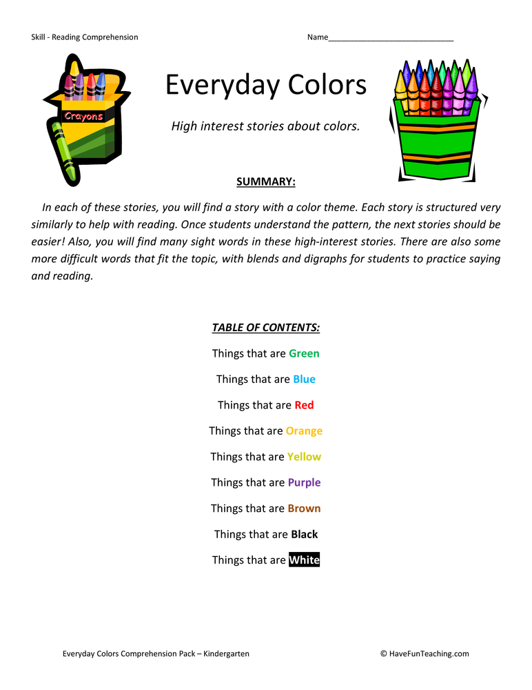 everyday colors collection kindergarten-reading comprehension worksheets