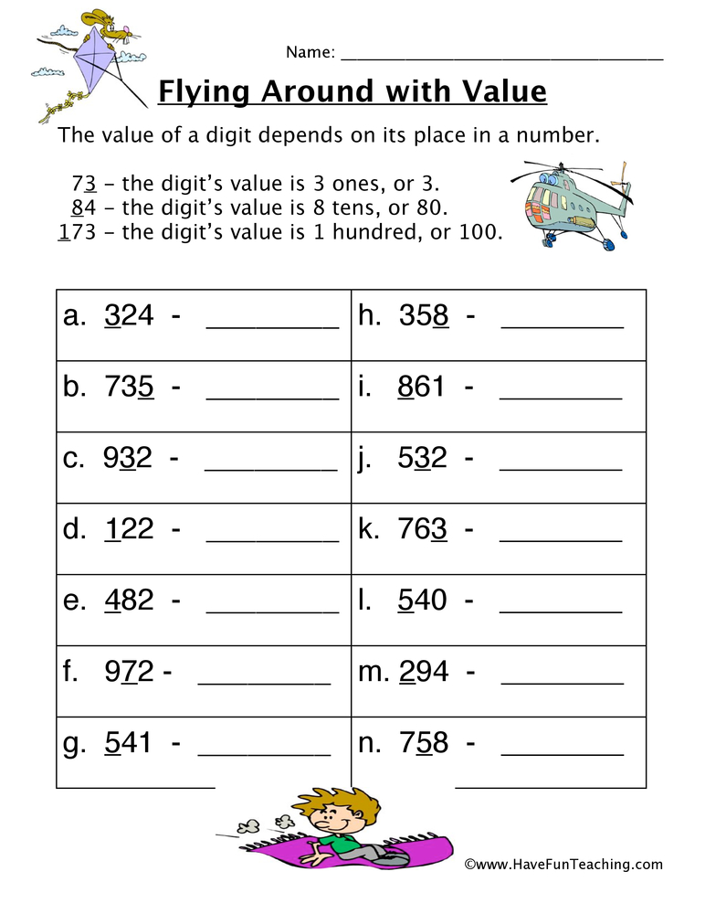 Place Value Worksheets Have Fun Teaching. Fly Place Value Worksheet. Worksheet. Placevalue Worksheets At Clickcart.co