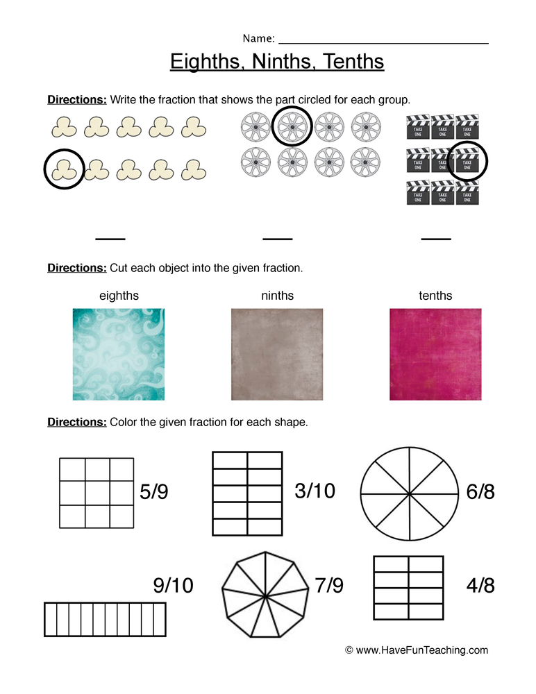 fractions eighth ninth tenth worksheet