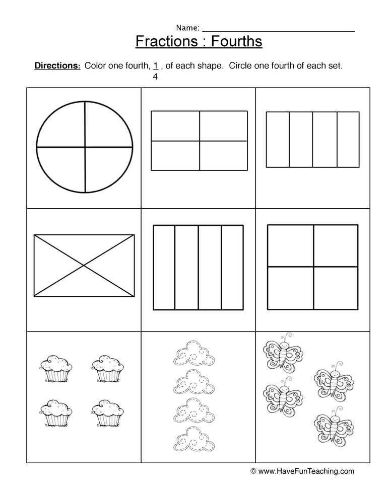 fractions fourths worksheet 1