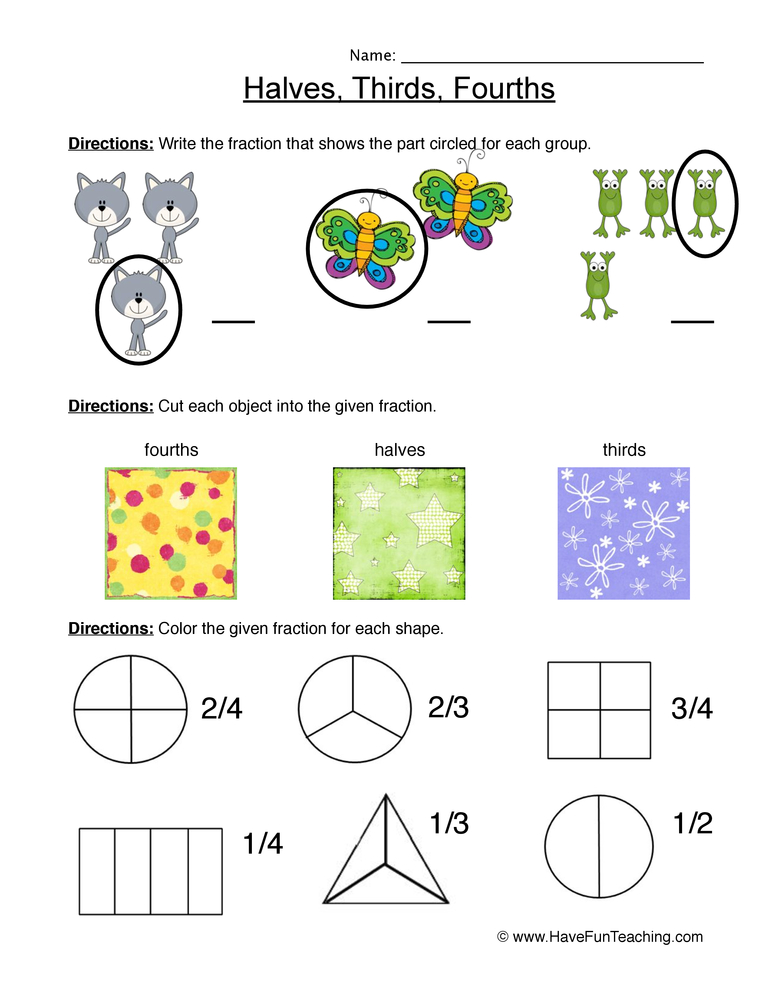 fractions half third fourth worksheet