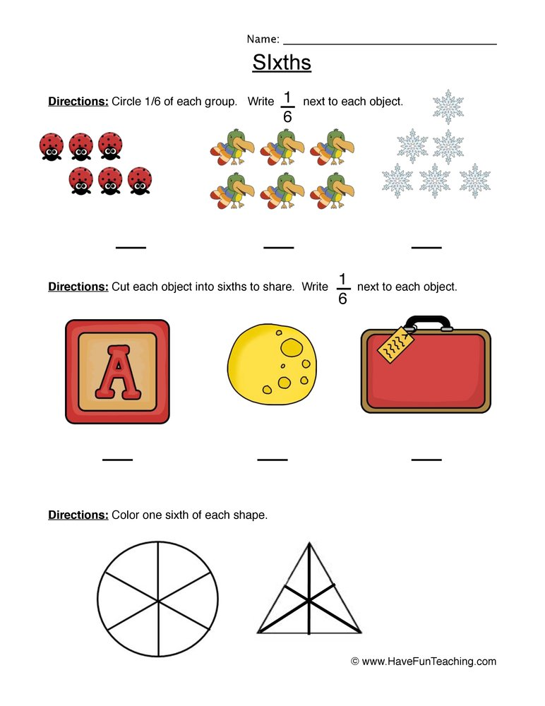 fractions sixth worksheet