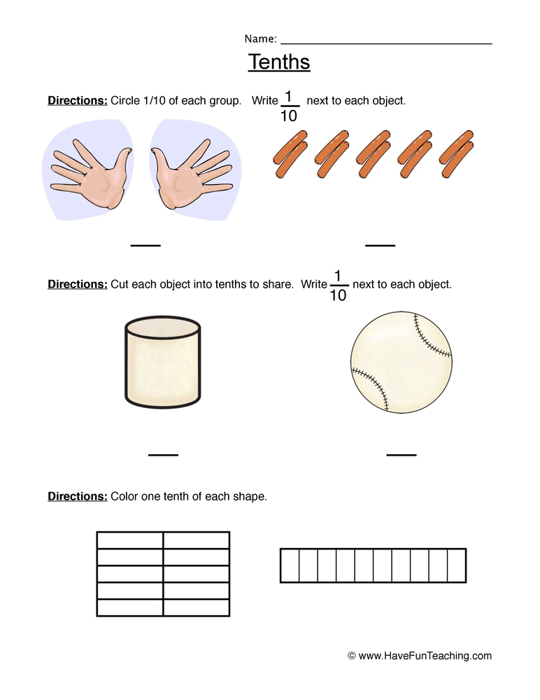 fractions tenth worksheet