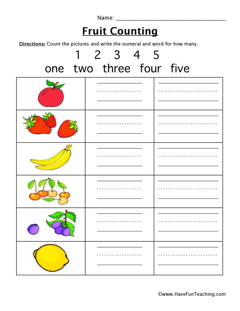 fruit counting worksheet