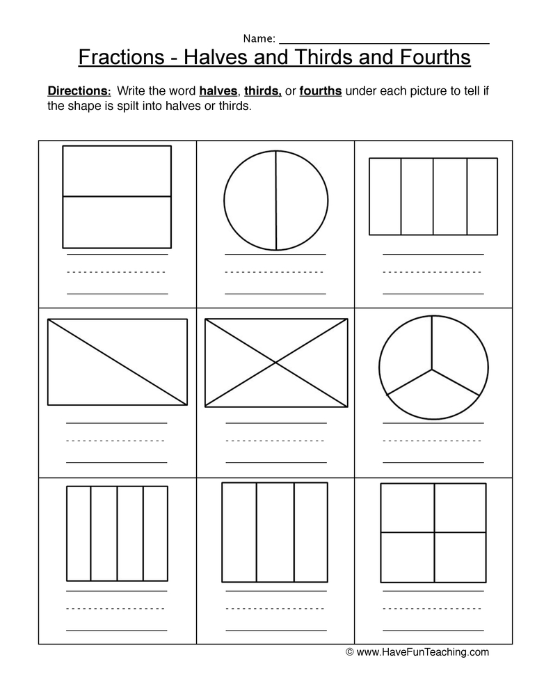 halves thirds fourths worksheet 1