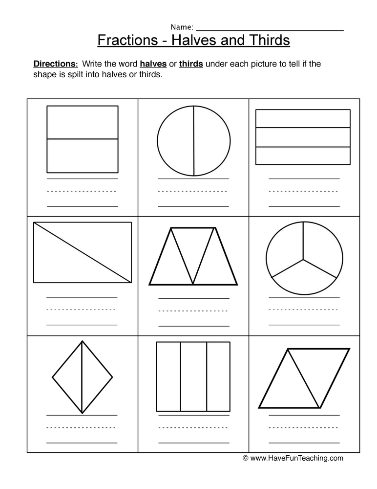 halves thirds worksheet 1