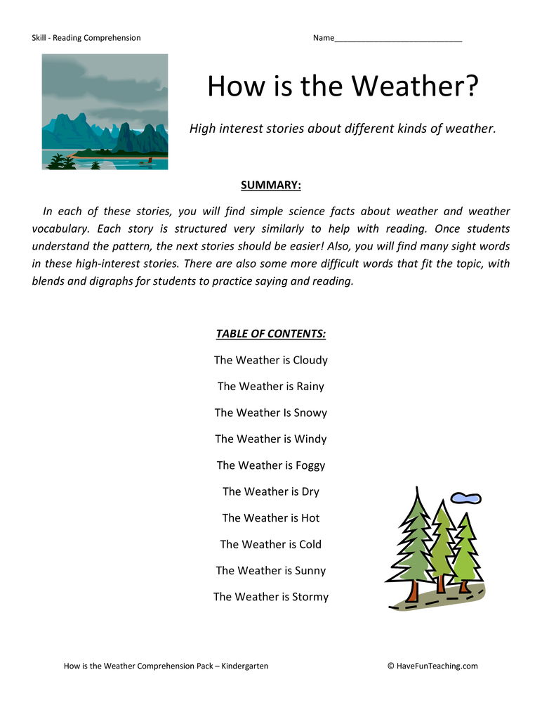 how is the weather collection-kindergarten-reading comprehension worksheets