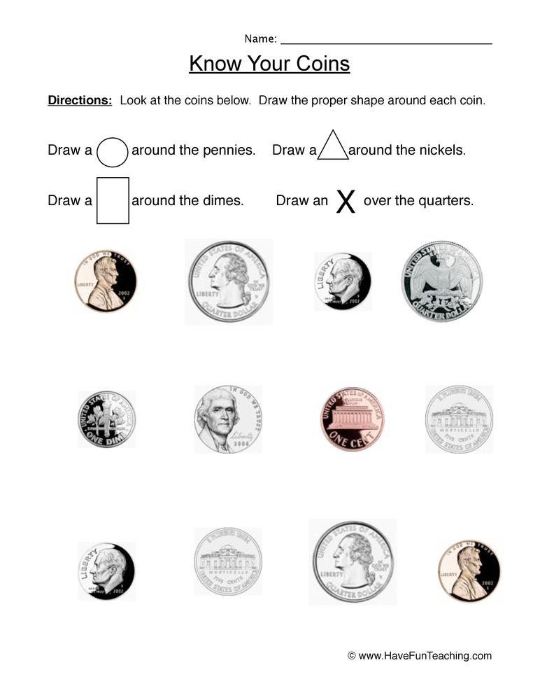 know coins worksheet 1