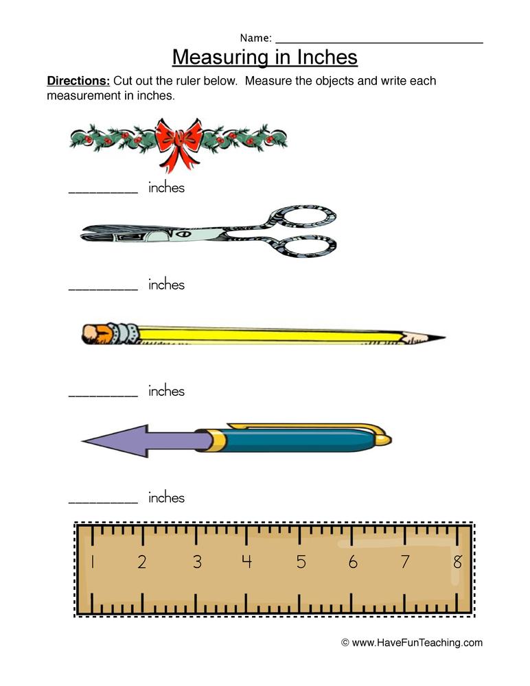 Measuring Worksheet 1 – Ruler Worksheet