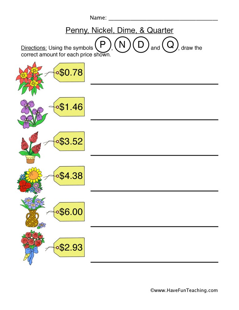 Penny Nickel Dime Quarter Worksheet