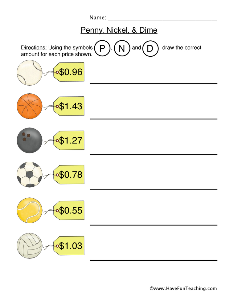 penny nickel dime worksheet