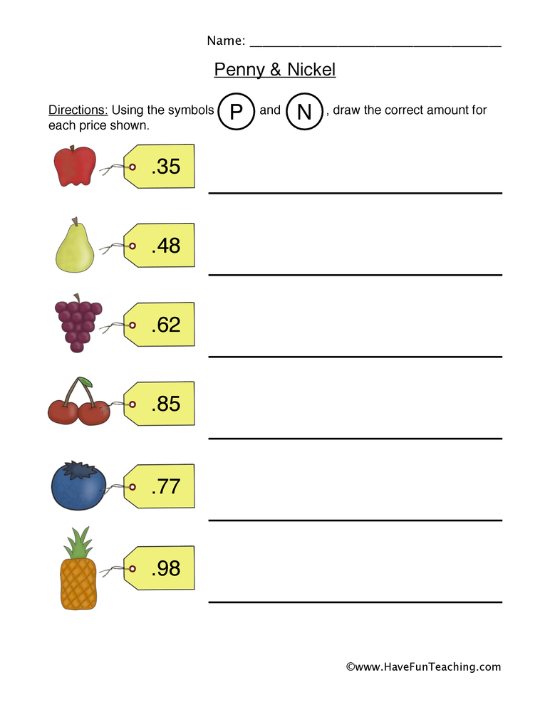 penny nickel worksheet