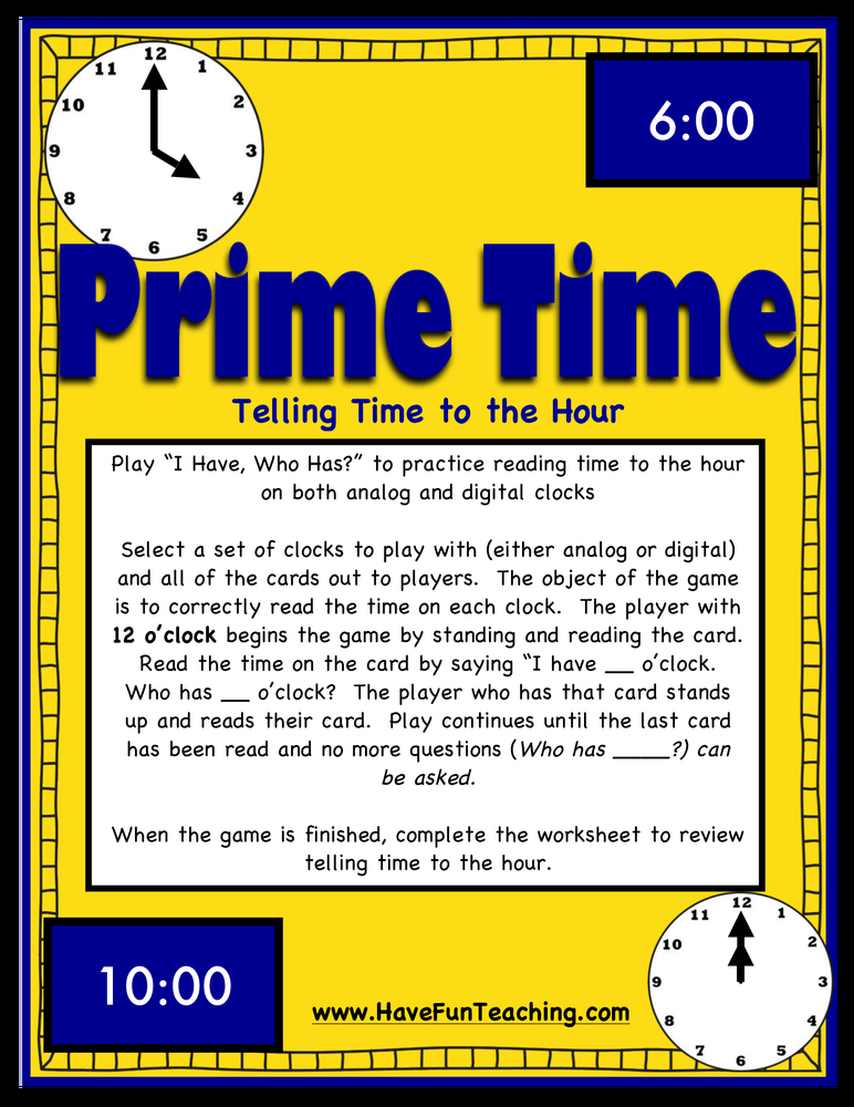 Prime Time Telling Time Activity