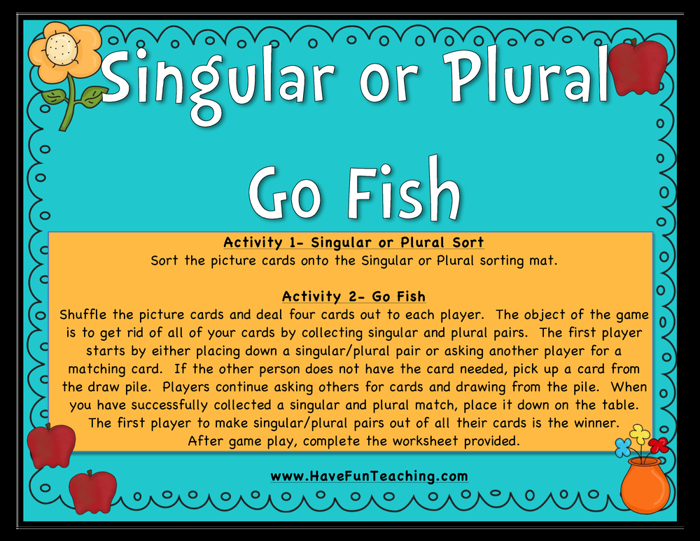 singular plural noun go fish activity