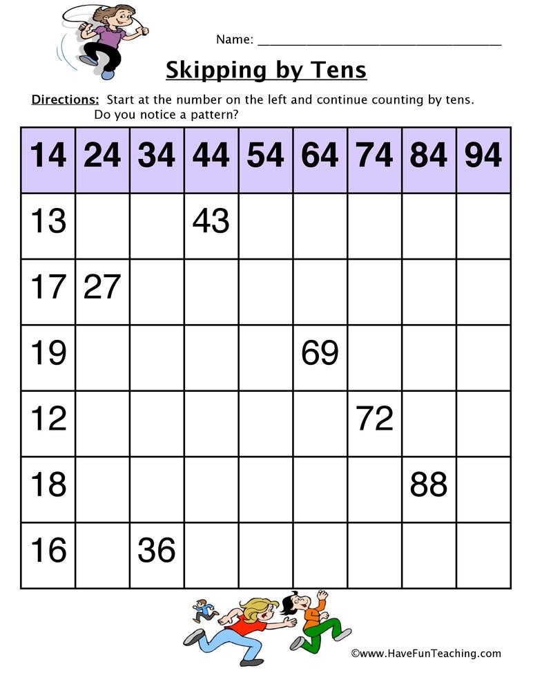 skip count by tens worksheet 2