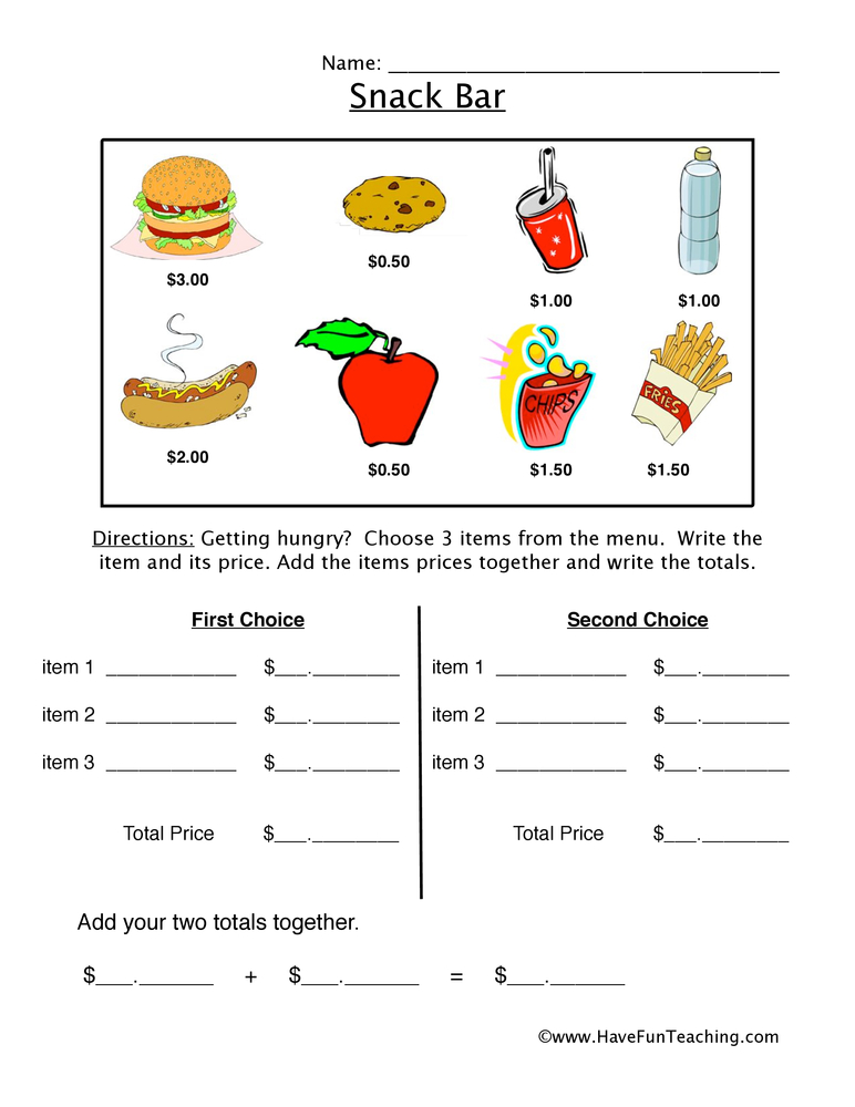 snack bar money worksheet 1