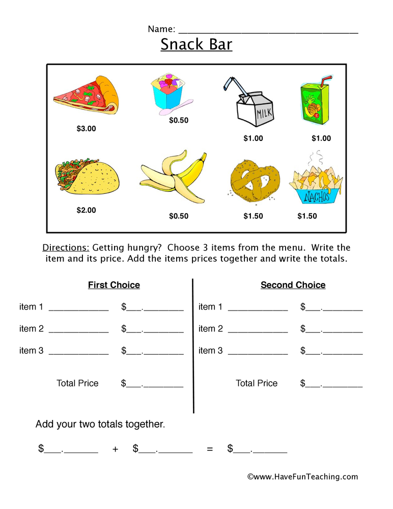 snack bar money worksheet 2