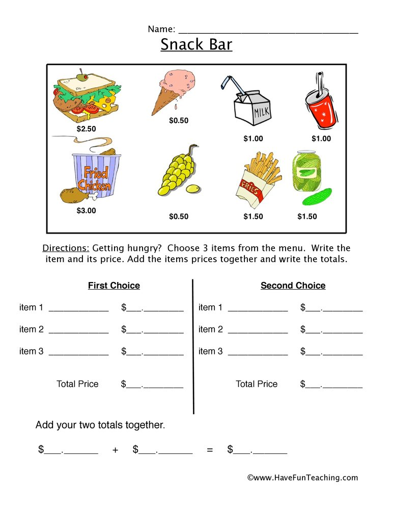 snack bar money worksheet 3