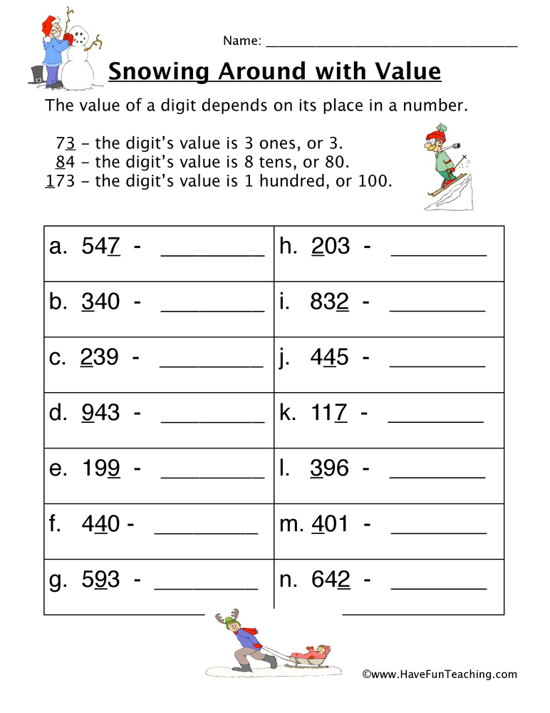 snow place value worksheet