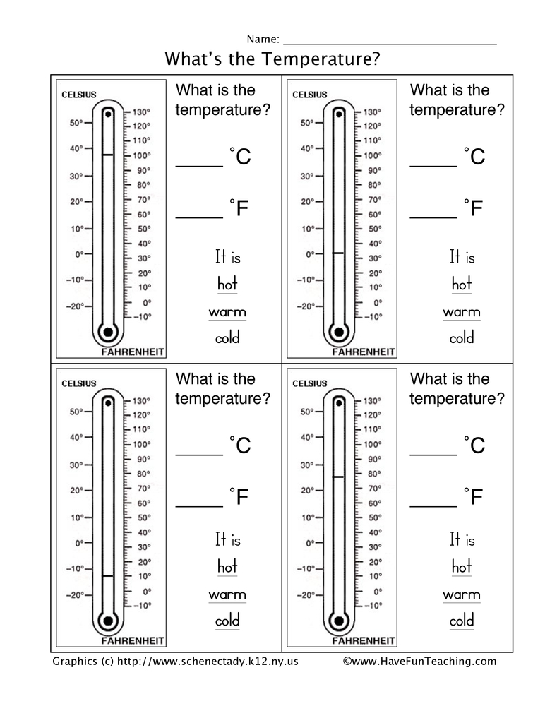 Thermometer Worksheets on Preschool Graphic Organizer