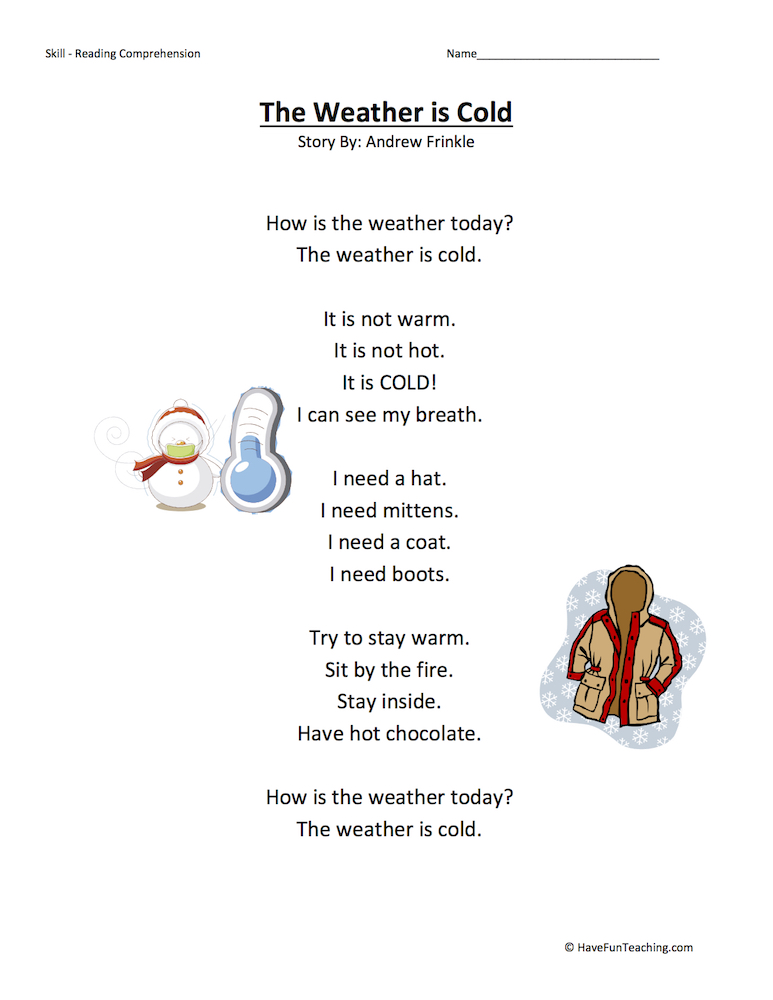 The Weather is Cold Reading Comprehension Worksheet