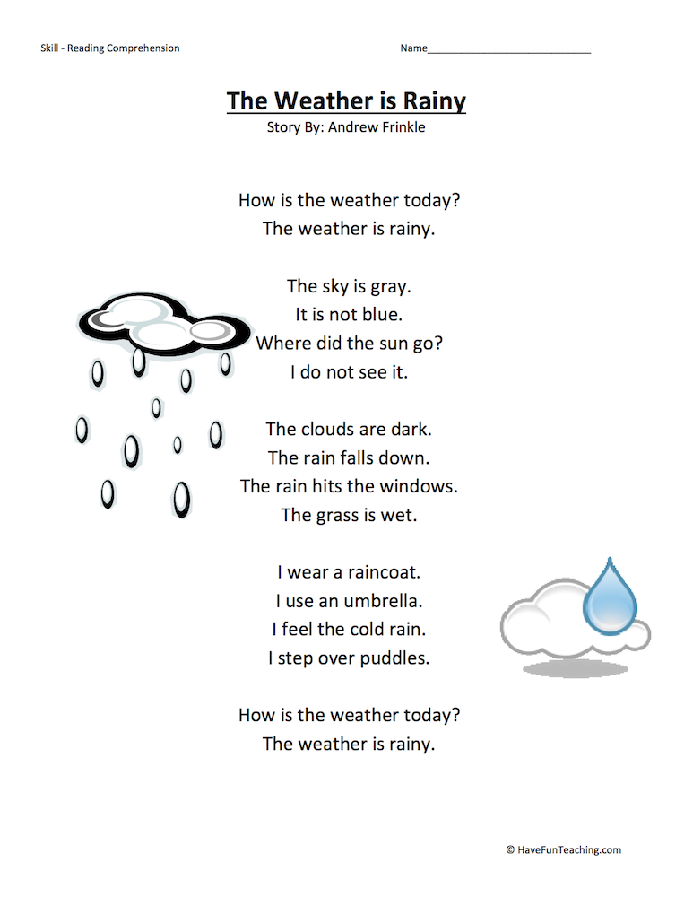 The Weather is Rainy Reading Comprehension Worksheet | Have Fun ...