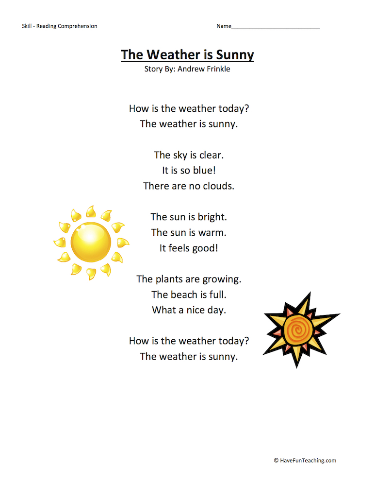 The Weather is Sunny Reading Comprehension Worksheet