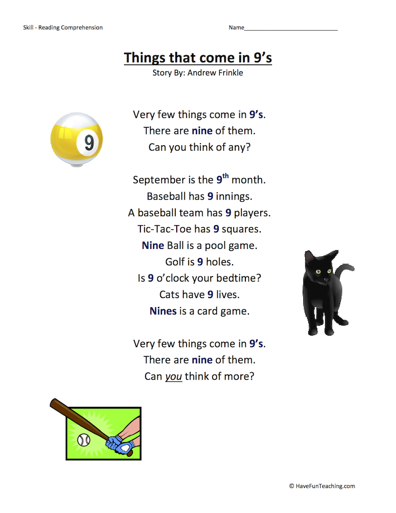 Things That E In 9s Reading Prehension Worksheet