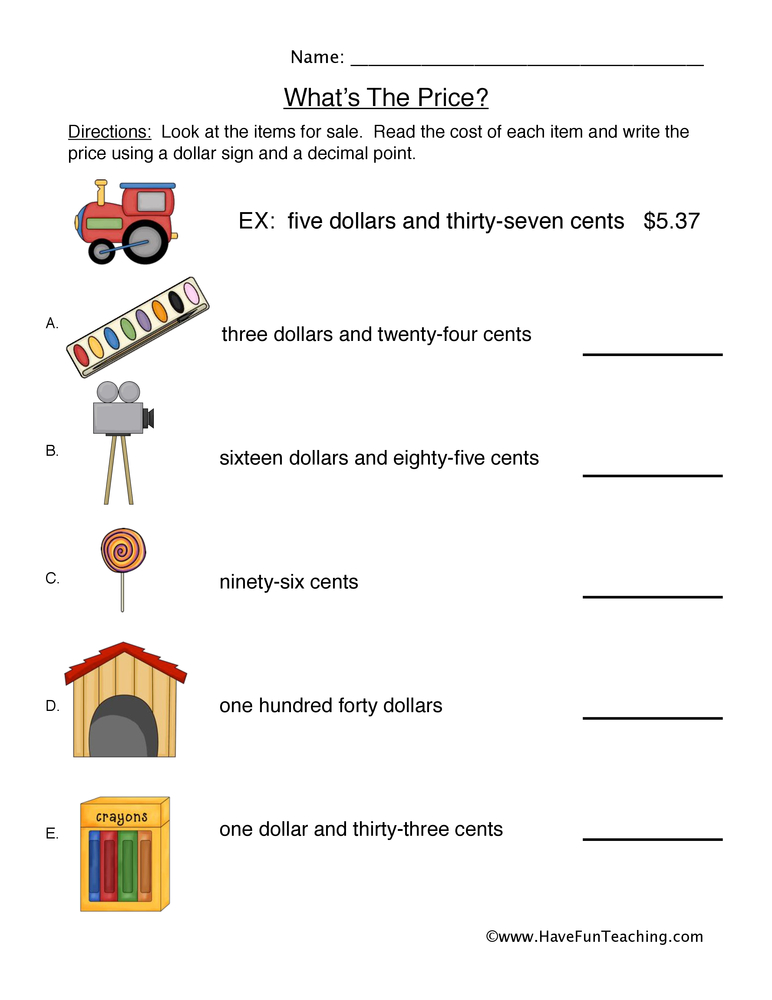 writing money worksheet 1