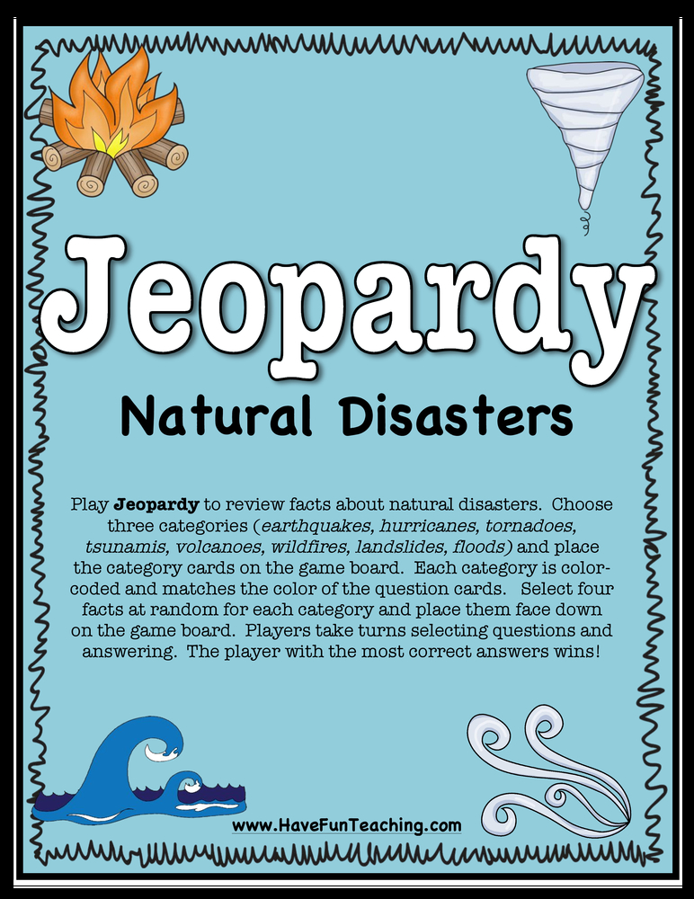 Jeopardy natural disasters activity