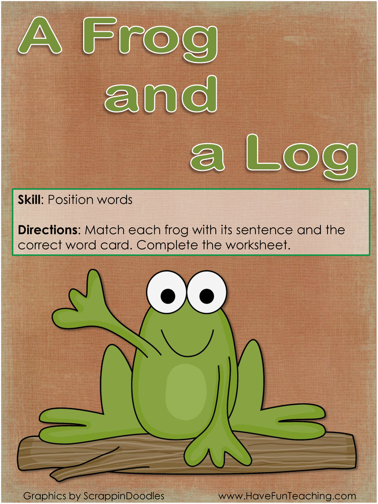 a frog and a log position words activity