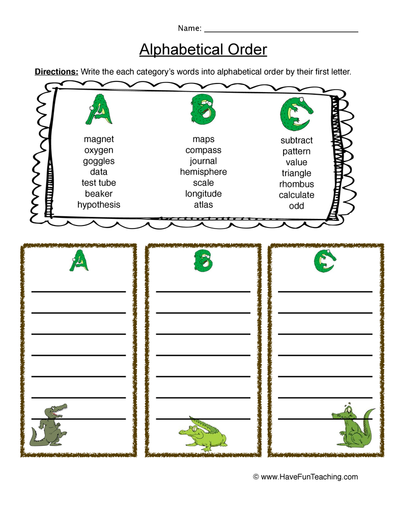 abc order worksheet 1