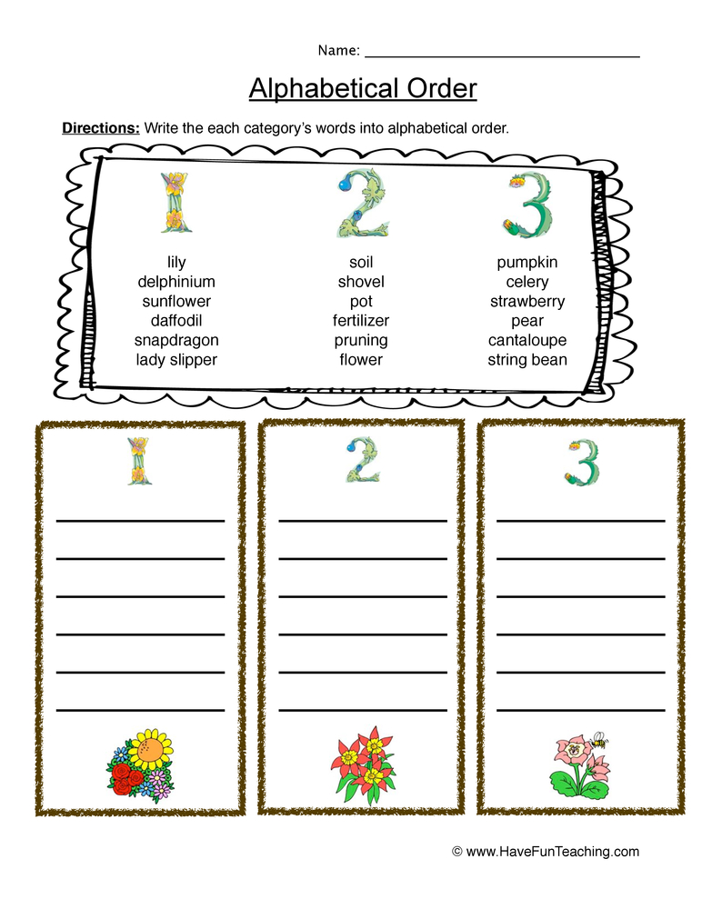Gardening ABC Order Worksheet | Have Fun Teaching