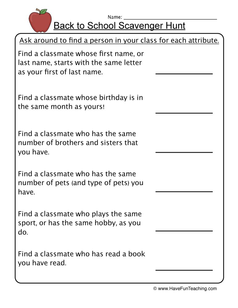 Back to School Scavenger Hunt Worksheet – Scavenger Hunt Worksheets