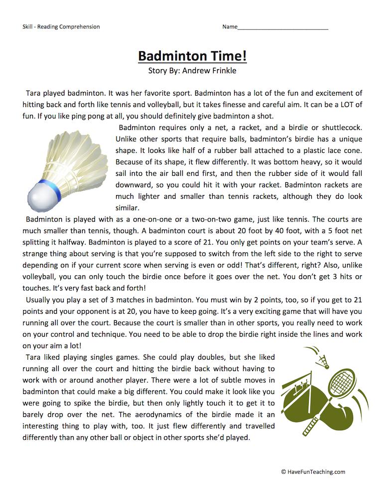 Badminton Time – Reading Comprehension Worksheet