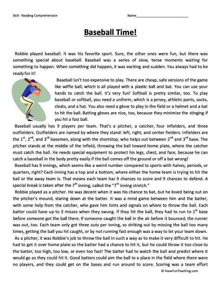 Baseball Time Reading Comprehension Worksheet • Have Fun Teaching