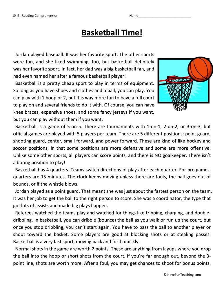 Basketball Time Reading Comprehension Worksheet • Have Fun ...